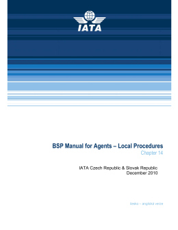 BSP Manual for Agents – Local Procedures