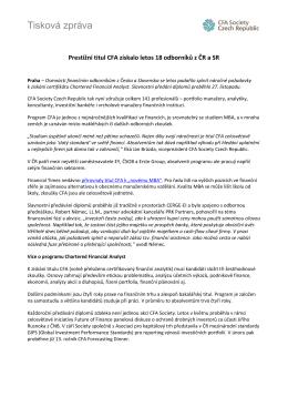 Tisková zpráva: Prestižní titul CFA získalo letos 18 odborníků z ČR a