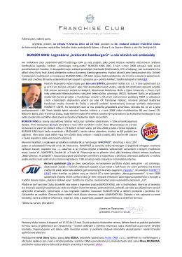 """BURGER KING: Legendární """"království hamburgerů"""" u nás otevírá"""