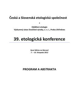 Zborník z 39. konferencie ČSEtS, Nové Město na Moravě