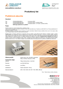 Produktový list Podlahová zásuvka