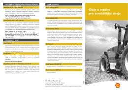 Oleje a maziva pro zemědělské stroje