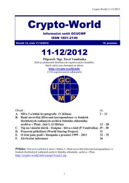 Crypto-World 11-12/2012 - Personal page: Vlastimil Klima