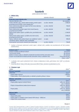 Sazebník - Deutsche Bank