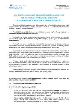 Info pro pacienty, jak žádat o nahlédnutí do zdravotnické dokumentace