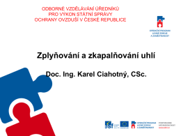 doc. Ing. Karel Ciahotný, CSc.- Zplyňování a zkapalňování uhlí