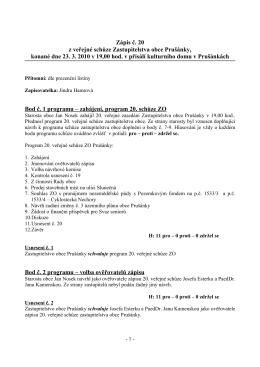 Zápis č. 20 z veřejné schůze Zastupitelstva obce