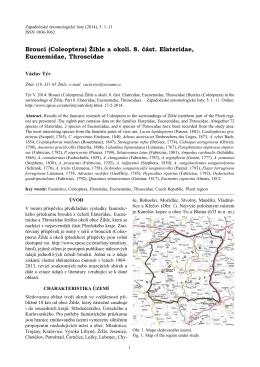 Brouci (Coleoptera) Žihle a okolí. 8. část. Elateridae, Eucnemidae