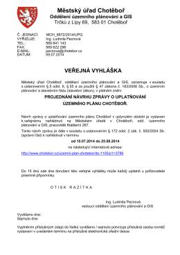 projednání návrhu zprávy o uplatňování územního plánu Chotěboř