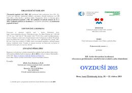 1. cirkulář konference Ovzduší 2015