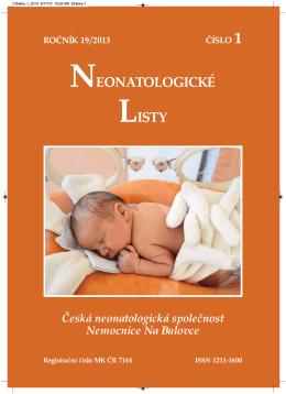 Ročník 19 - 2013 - číslo 1 - Česká Neonatologická Společnost