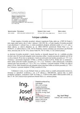 Ing. Josef Miegl - Česká inspekce životního prostředí