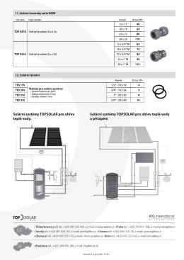 Solární systémy TOPSOLAR pro ohřev teplé vody a