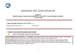 Textová část - Biologické centrum AV ČR, vvi