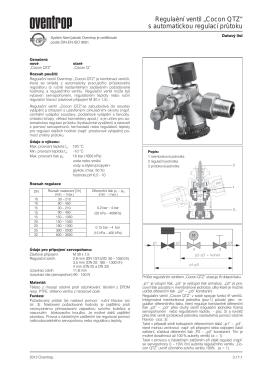 """Regulační ventil """"Cocon QTZ"""" s automatickou regulací"""