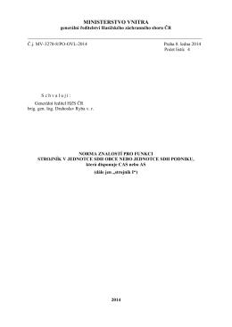 """Norma znalostí SDH pro funkci """"strojník I"""""""