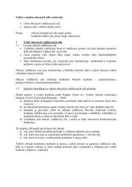 Výběr a analýza obecných cílů výuky ve výchově k občanství a