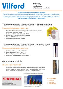Tepelné čerpadlo vzduch/voda – SBYN 048/068