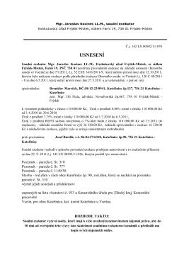 Usnesení - nařízení exekuce