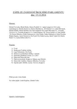 Zápis z 15.12.2014