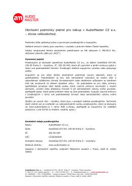 Obchodní podmínky platné pro nákup v AudioMaster CZ a.s. – divize