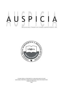 Recenzovaný časopis pro otázky společenských věd Auspicia 2004/2