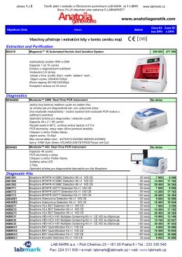 www.anatoliagenetik.com Všechny přístroje i extrakční kity v tomto