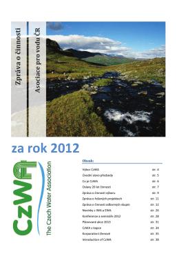 Zpráva o činnosti Asociace pro vodu ČR za rok 2012