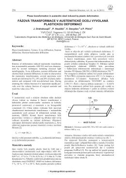 fázová transformace v austenitické oceli vyvolaná plastickou deformací