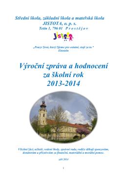 Výroční zpráva a hodnocení za školní rok 2013-2014