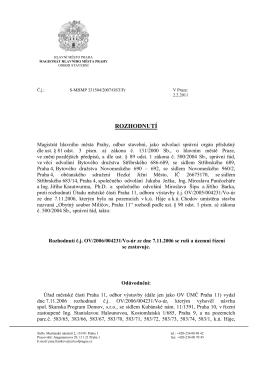 Rozhodnutí OST-MHMP ze dne 02.02.2011