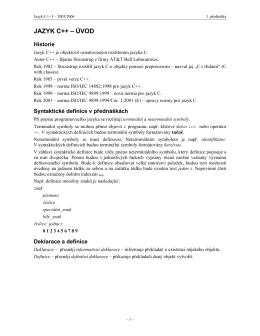 JAZYK C++ – ÚVOD
