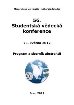Program a sborník abstraktů - Studentská vědecká konference LF MU