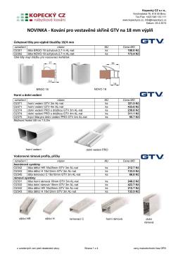 Vybavení šaten + posuvné systémy GTV