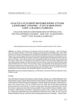 analýza stavebně historického vývoje lesoparků znojmo – část