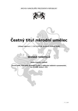 Čestný titul národní umělec
