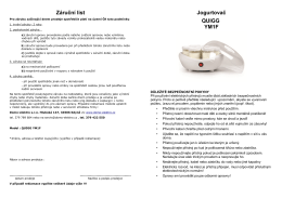 Záruční list Jogurtovač QUIGG YM1F - Copyright DOMO