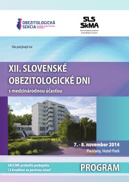 XII. SLOVENSKÉ OBEZITOLOGICKÉ DNI PROGRAM