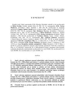 Usnesení Krajského soudu v Brně z roku 2014