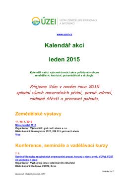 Kalendář akcí leden 2015