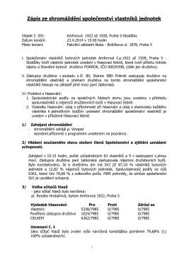 Zápis ze shromáždění objektu 591 konaného 23. 4. 2014