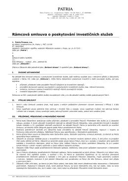 Rámcová smlouva o poskytování investičních služeb