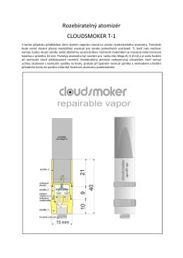 Rozebíratelný atomizér CLOUDSMOKER T-1 - Svět e