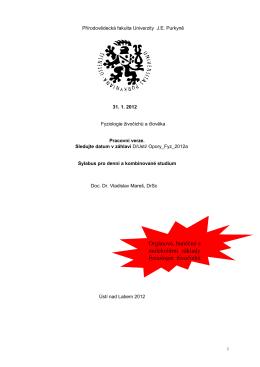 Fyziologie živočichů a člověka - KATEDRA BIOLOGIE