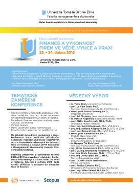 Pozvánka na konferenci - Univerzita Tomáše Bati ve Zlíně