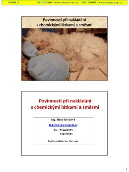 Povinnosti při nakládání s chemickými látkami a směsmi