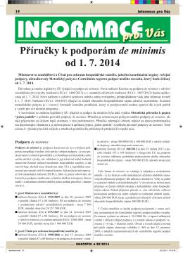 Příručky k podporám de minimis od 1. 7. 2014