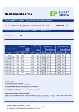 Ceník plynu 1/2015 EPET