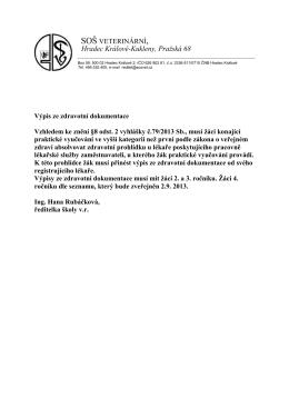 Výpis ze zdravotní dokumentace