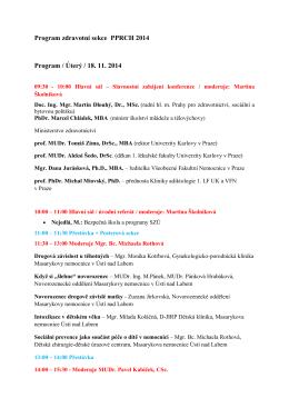 Program zdravotní sekce PPRCH 2014
